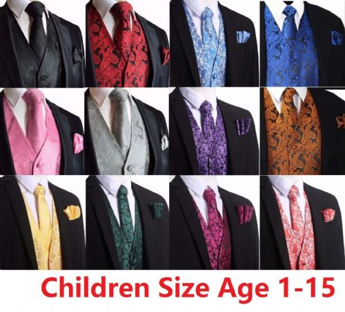 Kid Children Boy Paisley Design Waistcoat Vest and Tie Handkerchief Set For Suit